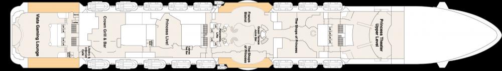 ПАЛУБА 7 PROMENADE на круизен кораб Majestic Princess - разположение на каюти, ресторанти, места за забавления и спорт