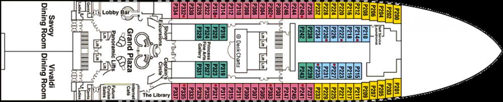 ПАЛУБА 5 PLAZA на круизен кораб Diamond Princess - разположение на каюти, ресторанти, места за забавления и спорт