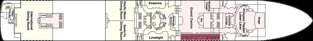 ПАЛУБА 6 FIESTA на круизен кораб Diamond Princess - разположение на каюти, ресторанти, места за забавления и спорт