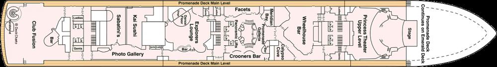 ПАЛУБА 7 PROMENADE на круизен кораб Diamond Princess - разположение на каюти, ресторанти, места за забавления и спорт