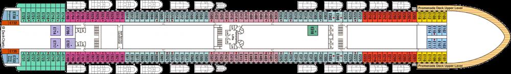 ПАЛУБА 8 EMERALD на круизен кораб Diamond Princess - разположение на каюти, ресторанти, места за забавления и спорт