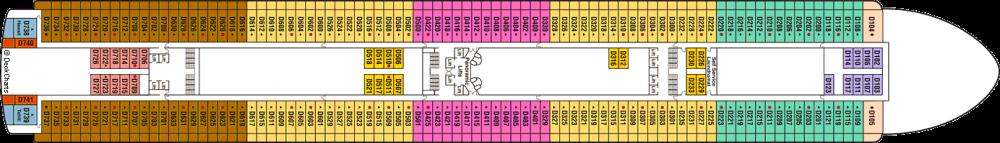 ПАЛУБА 9 DOLPHIN на круизен кораб Diamond Princess - разположение на каюти, ресторанти, места за забавления и спорт