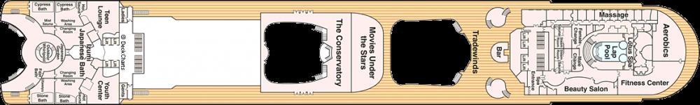 ПАЛУБА 15 MARINA на круизен кораб Diamond Princess - разположение на каюти, ресторанти, места за забавления и спорт