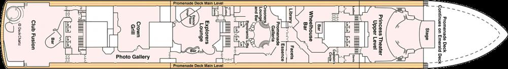 ПАЛУБА 7 PROMENADE на круизен кораб Crown Princess - разположение на каюти, ресторанти, места за забавления и спорт