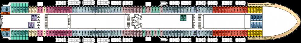 ПАЛУБА 8 EMERALD на круизен кораб Crown Princess - разположение на каюти, ресторанти, места за забавления и спорт