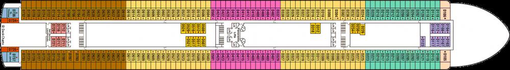 ПАЛУБА 9 DOLPHIN на круизен кораб Crown Princess - разположение на каюти, ресторанти, места за забавления и спорт
