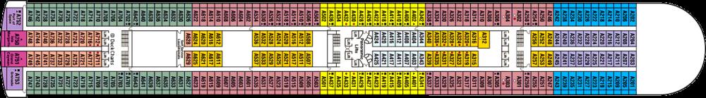 ПАЛУБА 12 ALOHA на круизен кораб Crown Princess - разположение на каюти, ресторанти, места за забавления и спорт