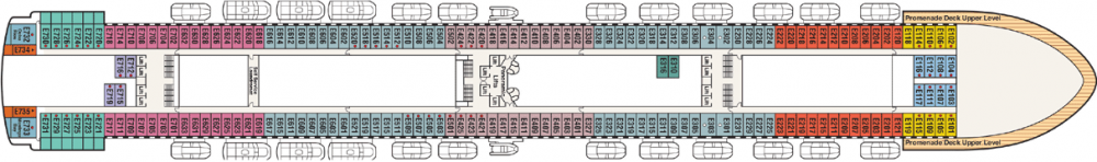 ПАЛУБА 8 EMERALD на круизен кораб Caribbean Princess - разположение на каюти, ресторанти, места за забавления и спорт