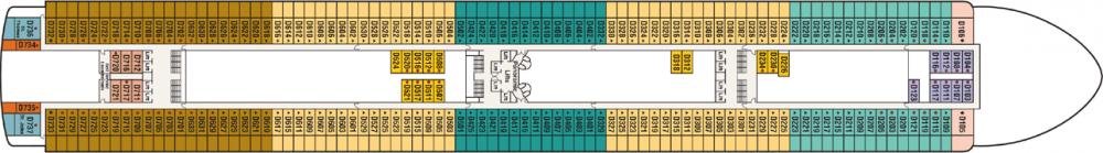 ПАЛУБА 9 DOLPHIN на круизен кораб Caribbean Princess - разположение на каюти, ресторанти, места за забавления и спорт