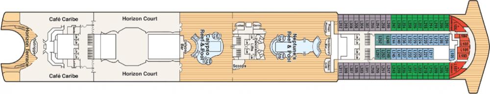 ПАЛУБА 15 MARINA на круизен кораб Caribbean Princess - разположение на каюти, ресторанти, места за забавления и спорт