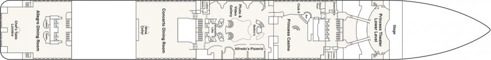 ПАЛУБА 6 FIESTA на круизен кораб Regal Princess - разположение на каюти, ресторанти, места за забавления и спорт