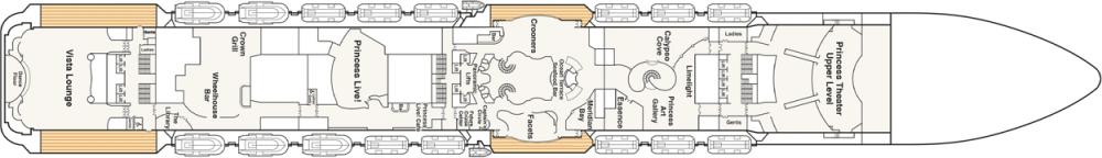 ПАЛУБА 7 PROMENADE на круизен кораб Regal Princess - разположение на каюти, ресторанти, места за забавления и спорт