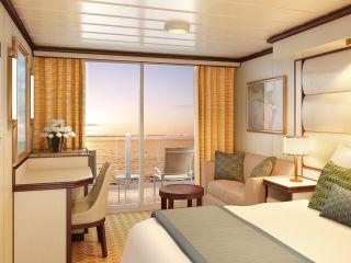 Описание на каюта Луксозни каюти с балкон на круизен кораб Regal Princess – обзавеждане, площ, разположение