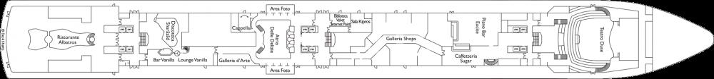 Палуба 3 - Azalea на круизен кораб Costa DELIZIOSA - разположение на каюти, ресторанти, места за забавления и спорт