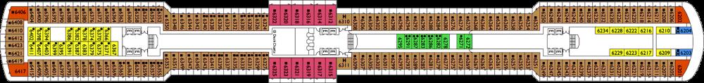 Палуба 6 - Ortensia на круизен кораб Costa DELIZIOSA - разположение на каюти, ресторанти, места за забавления и спорт