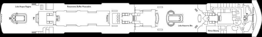 Палуба 9 - Orchidea на круизен кораб Costa DELIZIOSA - разположение на каюти, ресторанти, места за забавления и спорт