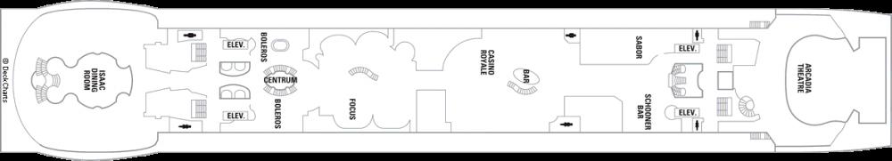 Палуба 4 на круизен кораб FREEDOM of the Seas - разположение на каюти, ресторанти, места за забавления и спорт