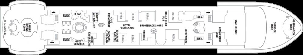 Палуба 5 на круизен кораб FREEDOM of the Seas - разположение на каюти, ресторанти, места за забавления и спорт