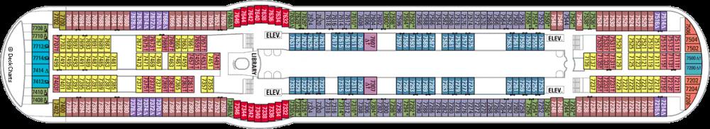 Палуба 7 на круизен кораб FREEDOM of the Seas - разположение на каюти, ресторанти, места за забавления и спорт