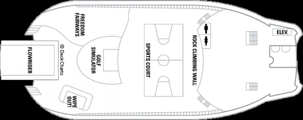 Палуба 13 на круизен кораб FREEDOM of the Seas - разположение на каюти, ресторанти, места за забавления и спорт