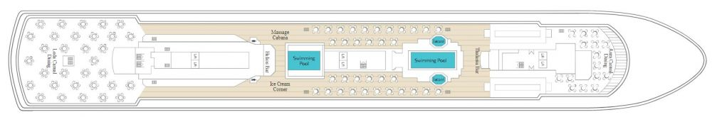 Палуба 10 на круизен кораб CELESTYAL Majesty - разположение на каюти, ресторанти, места за забавления и спорт