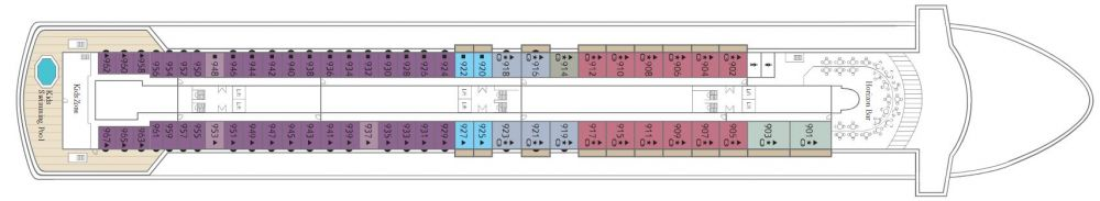 Палуба 9 на круизен кораб CELESTYAL Majesty - разположение на каюти, ресторанти, места за забавления и спорт