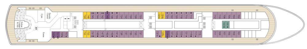 Палуба 7 на круизен кораб CELESTYAL Majesty - разположение на каюти, ресторанти, места за забавления и спорт