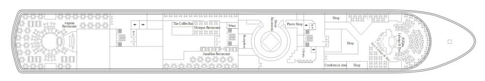 Палуба 5 на круизен кораб CELESTYAL Majesty - разположение на каюти, ресторанти, места за забавления и спорт