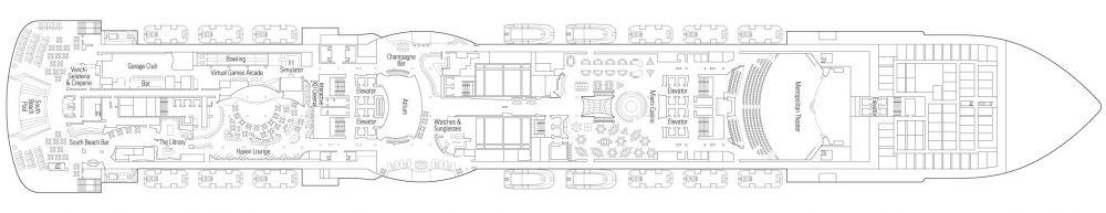 Палуба 7 на круизен кораб MSC Seaside - разположение на каюти, ресторанти, места за забавления и спорт
