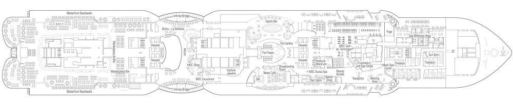 Палуба 8 на круизен кораб MSC Seaside - разположение на каюти, ресторанти, места за забавления и спорт