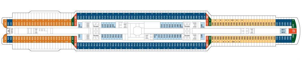 Палуба 9 на круизен кораб MSC Seaside - разположение на каюти, ресторанти, места за забавления и спорт