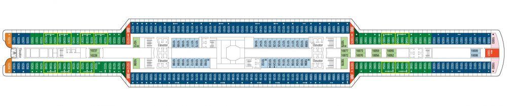 Палуба 10 на круизен кораб MSC Seaside - разположение на каюти, ресторанти, места за забавления и спорт