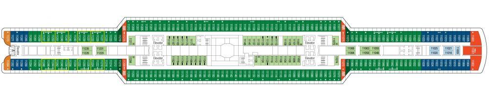 Палуба 11 на круизен кораб MSC Seaside - разположение на каюти, ресторанти, места за забавления и спорт