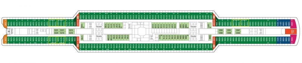 Палуба 12 на круизен кораб MSC Seaside - разположение на каюти, ресторанти, места за забавления и спорт
