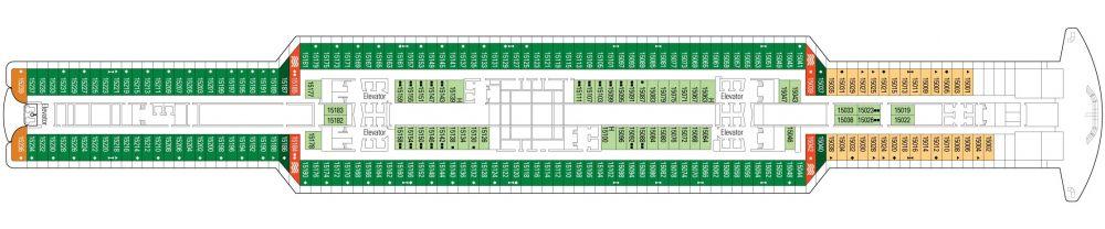 Палуба 15 на круизен кораб MSC Seaside - разположение на каюти, ресторанти, места за забавления и спорт