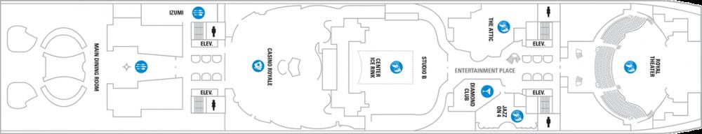 Палуба 4 на круизен кораб Symphony of the seas - разположение на каюти, ресторанти, места за забавления и спорт