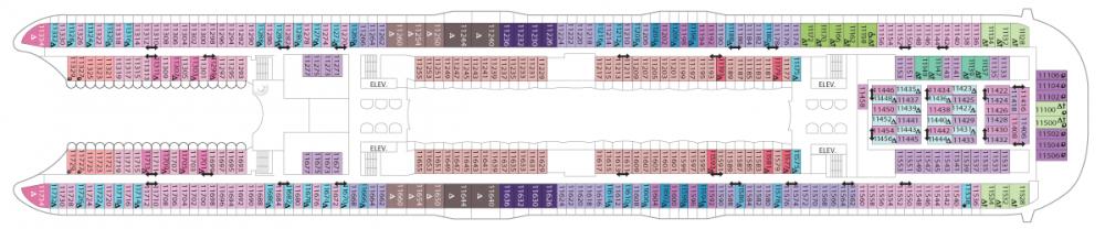 Палуба 11 на круизен кораб SYMPHONY of the seas - разположение на каюти, ресторанти, места за забавления и спорт