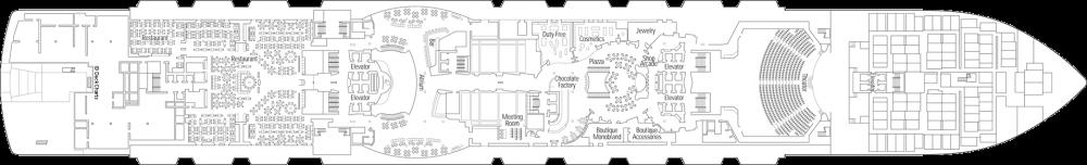 Палуба 6 на круизен кораб MSC Seaview - разположение на каюти, ресторанти, места за забавления и спорт