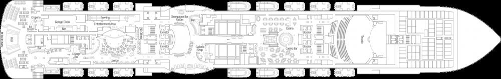 Палуба 7 на круизен кораб MSC Seaview - разположение на каюти, ресторанти, места за забавления и спорт