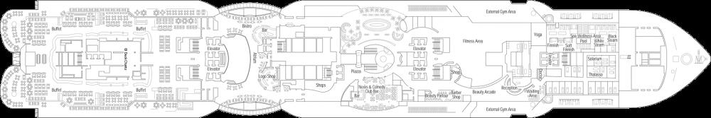 Палуба 8 на круизен кораб MSC Seaview - разположение на каюти, ресторанти, места за забавления и спорт