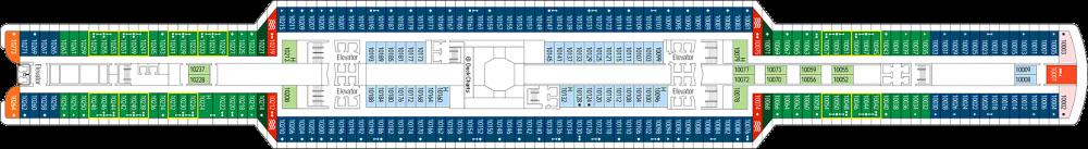 Палуба 10 на круизен кораб MSC Seaview - разположение на каюти, ресторанти, места за забавления и спорт