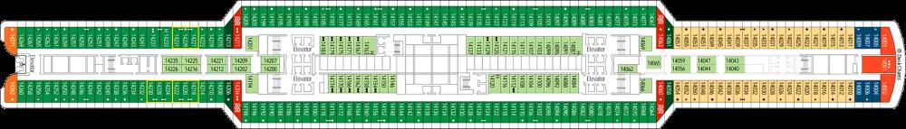 Палуба 14 на круизен кораб MSC Seaview - разположение на каюти, ресторанти, места за забавления и спорт