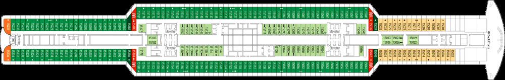 Палуба 15 на круизен кораб MSC Seaview - разположение на каюти, ресторанти, места за забавления и спорт