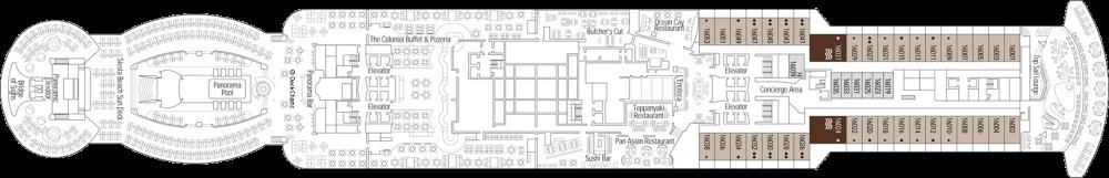 Палуба 16 на круизен кораб MSC Seaview - разположение на каюти, ресторанти, места за забавления и спорт