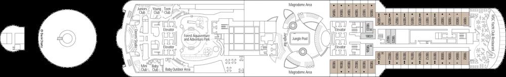 Палуба 18 на круизен кораб MSC Seaview - разположение на каюти, ресторанти, места за забавления и спорт
