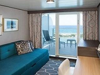 Описание на каюта Ocean View with Large Balcony - Външни каюти с голям балкон - категория 2C на круизен кораб HARMONY of the Seas – обзавеждане, площ