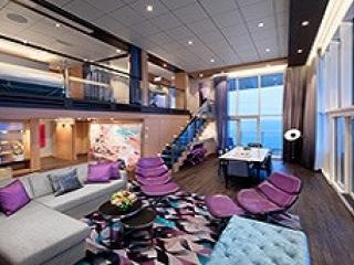 Описание на каюта Royal Loft Suite Balcony - двуетажен кралски апартамент, категория RL на круизен кораб HARMONY of the Seas – обзавеждане, площ