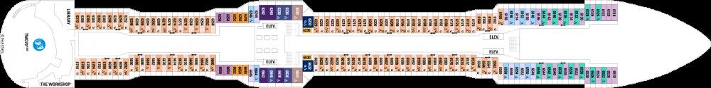 Палуба 6 на круизен кораб QUANTUM of the seas - разположение на каюти, ресторанти, места за забавления и спорт