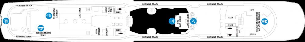 Палуба 15 на круизен кораб QUANTUM of the seas - разположение на каюти, ресторанти, места за забавления и спорт