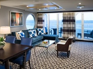 Описание на каюта Owner's Suite - 1 Bedroomy – луксозен апартамент, категория OS на круизен кораб QUANTUM of the seas – обзавеждане, площ